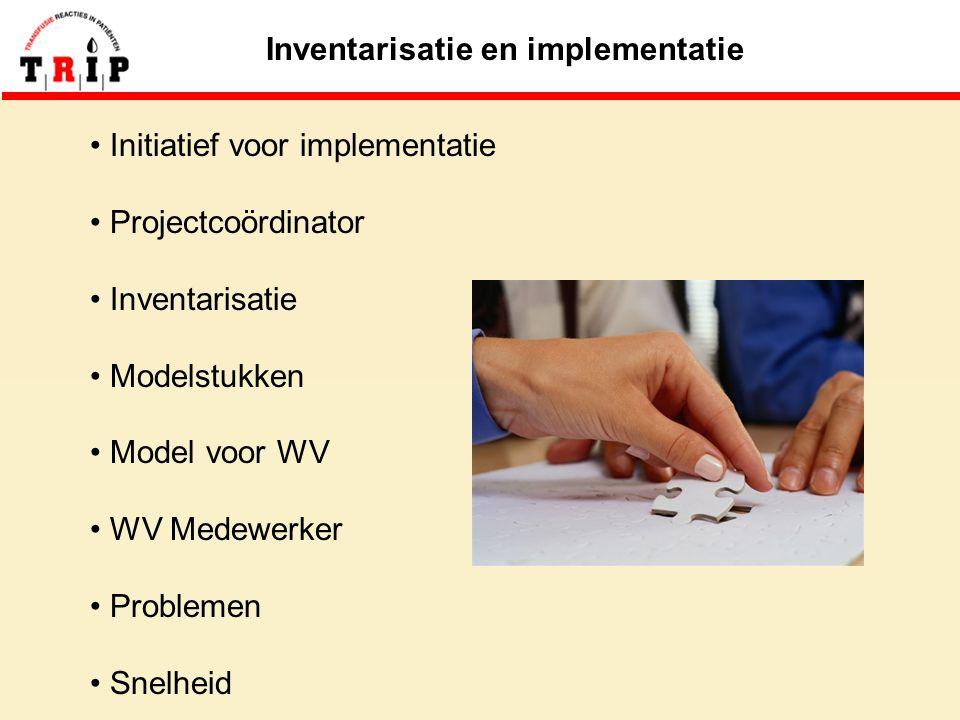 Inventarisatie en implementatie Initiatief voor implementatie Projectcoördinator Inventarisatie Modelstukken Model voor WV WV Medewerker Problemen Snelheid