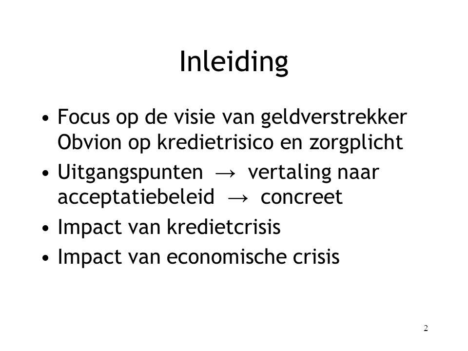 2 Inleiding Focus op de visie van geldverstrekker Obvion op kredietrisico en zorgplicht Uitgangspunten → vertaling naar acceptatiebeleid → concreet Impact van kredietcrisis Impact van economische crisis
