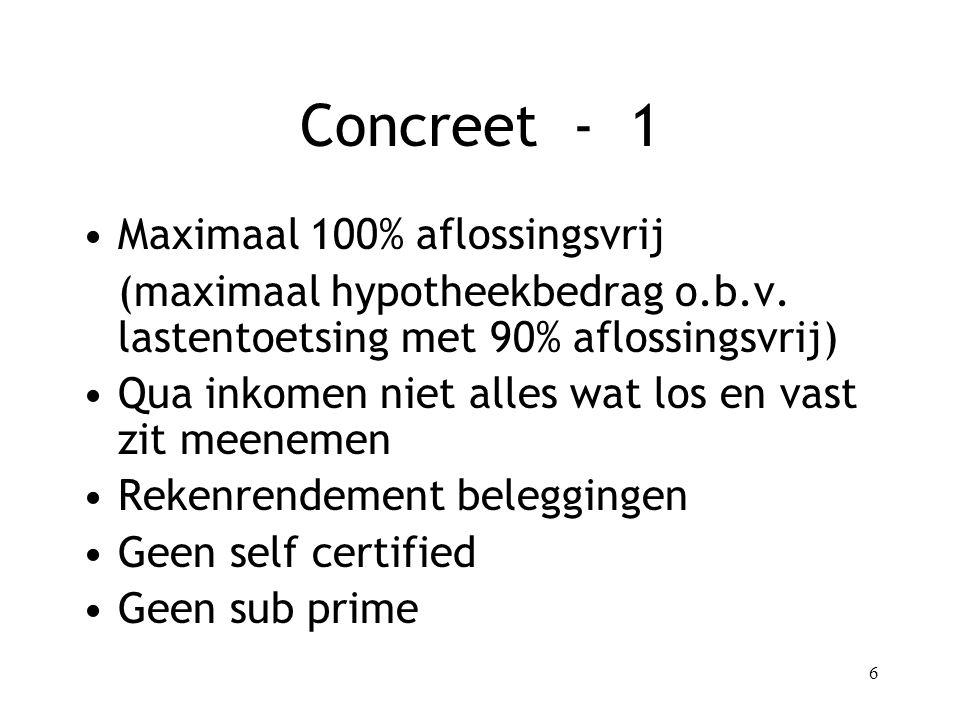 6 Concreet - 1 Maximaal 100% aflossingsvrij (maximaal hypotheekbedrag o.b.v.