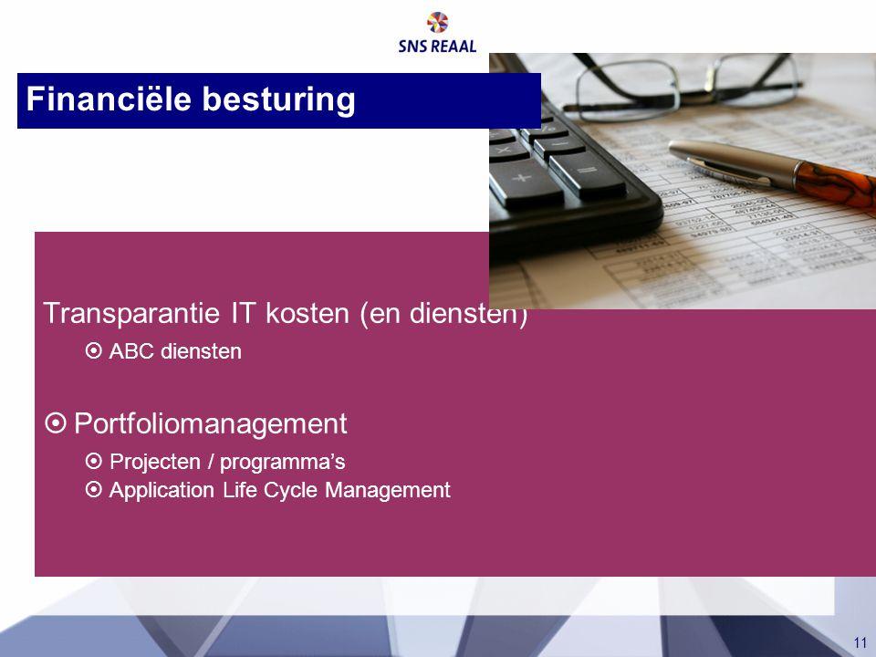 11 Transparantie IT kosten (en diensten)  ABC diensten  Portfoliomanagement  Projecten / programma's  Application Life Cycle Management Financiële