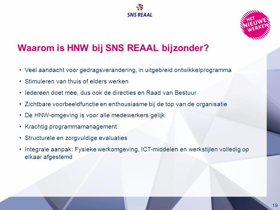 19 Waarom is HNW bij SNS REAAL bijzonder? Veel aandacht voor gedragsverandering, in uitgebreid ontwikkelprogramma Stimuleren van thuis of elders werke