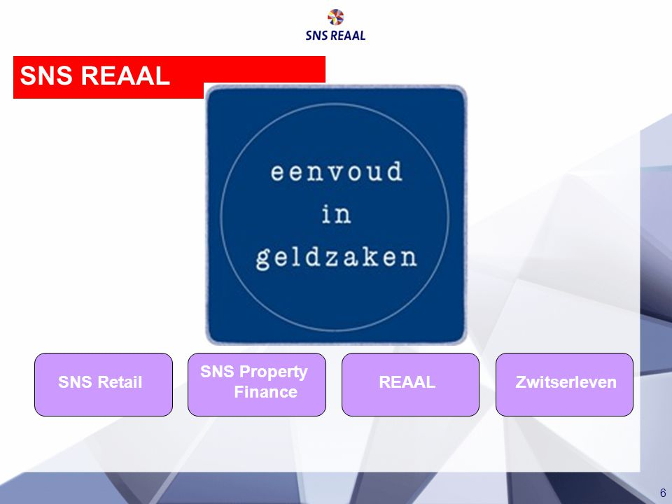 6 SNS Retail SNS Property Finance REAAL Zwitserleven