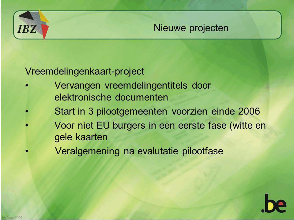 Nieuwe projecten Vreemdelingenkaart-project Vervangen vreemdelingentitels door elektronische documenten Start in 3 pilootgemeenten voorzien einde 2006