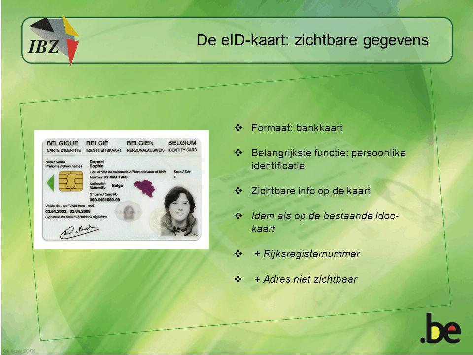  Formaat: bankkaart  Belangrijkste functie: persoonlike identificatie  Zichtbare info op de kaart  Idem als op de bestaande Idoc- kaart  + Rijksr