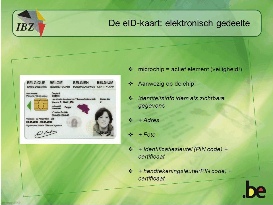  microchip = actief element (veiligheid!)  Aanwezig op de chip:  identiteitsinfo idem als zichtbare gegevens  + Adres  + Foto  + Identificatiesl