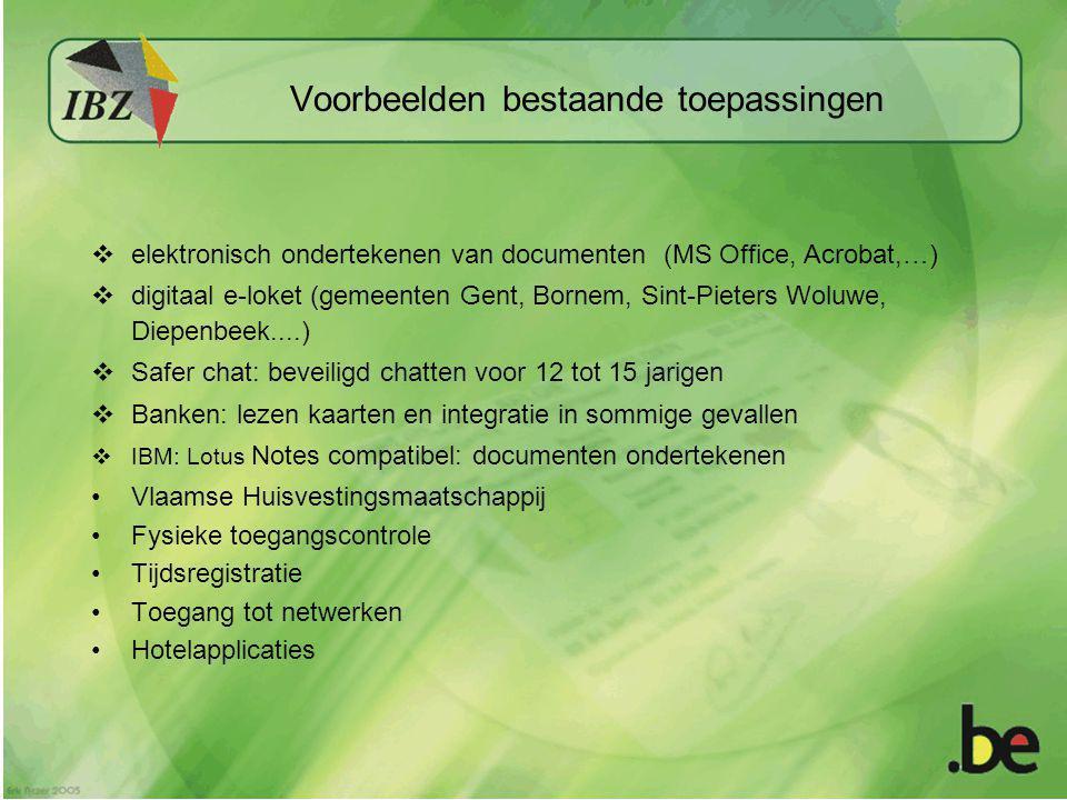  elektronisch ondertekenen van documenten (MS Office, Acrobat,…)  digitaal e-loket (gemeenten Gent, Bornem, Sint-Pieters Woluwe, Diepenbeek....)  S