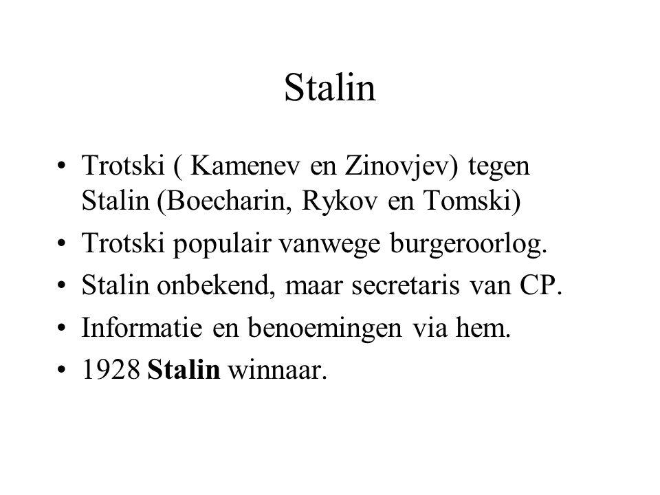 Stalin Trotski ( Kamenev en Zinovjev) tegen Stalin (Boecharin, Rykov en Tomski) Trotski populair vanwege burgeroorlog. Stalin onbekend, maar secretari