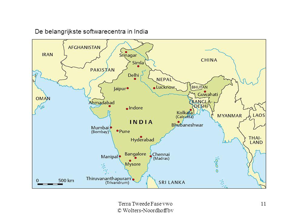 Terra Tweede Fase vwo © Wolters-Noordhoff bv 11 De belangrijkste softwarecentra in India