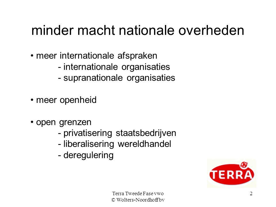 Terra Tweede Fase vwo © Wolters-Noordhoff bv 2 minder macht nationale overheden meer internationale afspraken - internationale organisaties - supranat