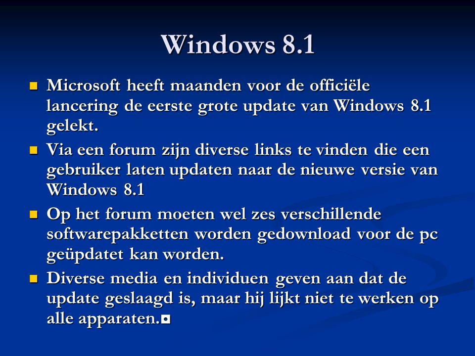 Windows 8.1 Microsoft heeft maanden voor de officiële lancering de eerste grote update van Windows 8.1 gelekt. Microsoft heeft maanden voor de officië