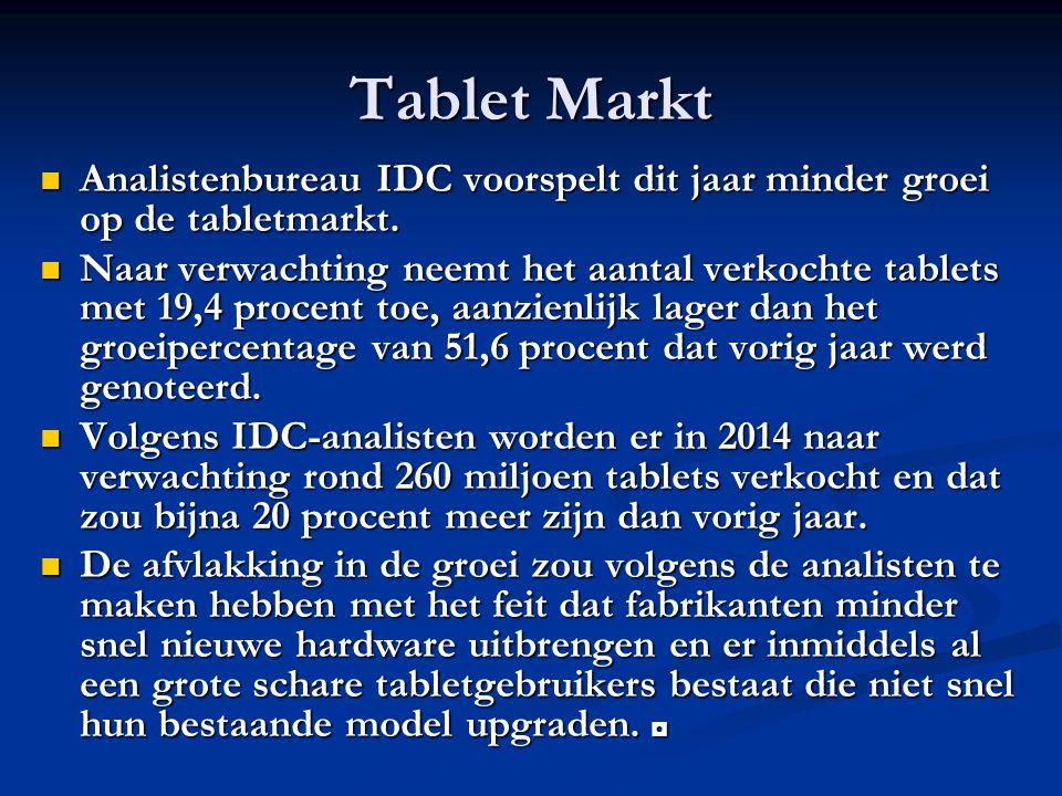 Tablet Markt Analistenbureau IDC voorspelt dit jaar minder groei op de tabletmarkt.