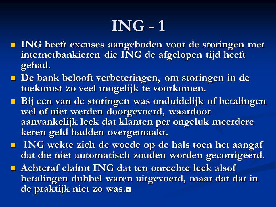 ING - 1 ING heeft excuses aangeboden voor de storingen met internetbankieren die ING de afgelopen tijd heeft gehad. ING heeft excuses aangeboden voor