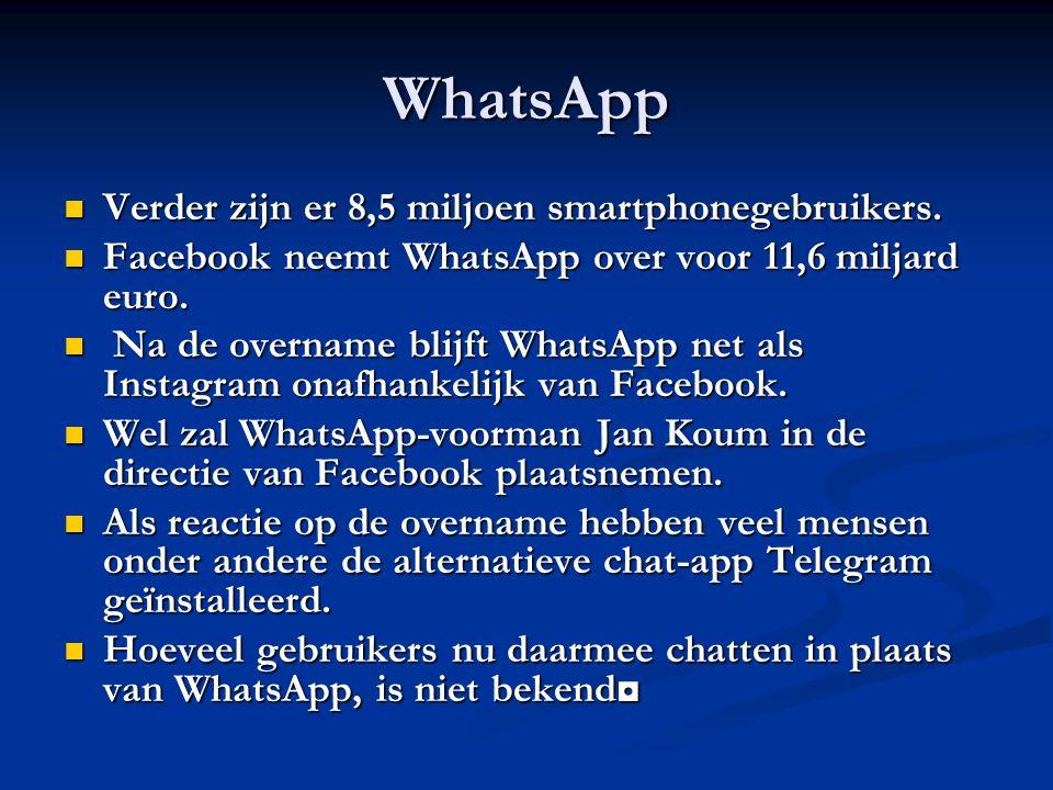 WhatsApp Verder zijn er 8,5 miljoen smartphonegebruikers. Verder zijn er 8,5 miljoen smartphonegebruikers. Facebook neemt WhatsApp over voor 11,6 milj