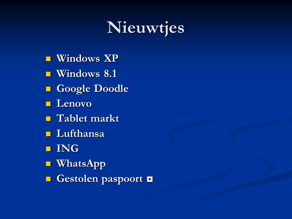 Windows XP De ondersteuning van XP stopt per april 2014.