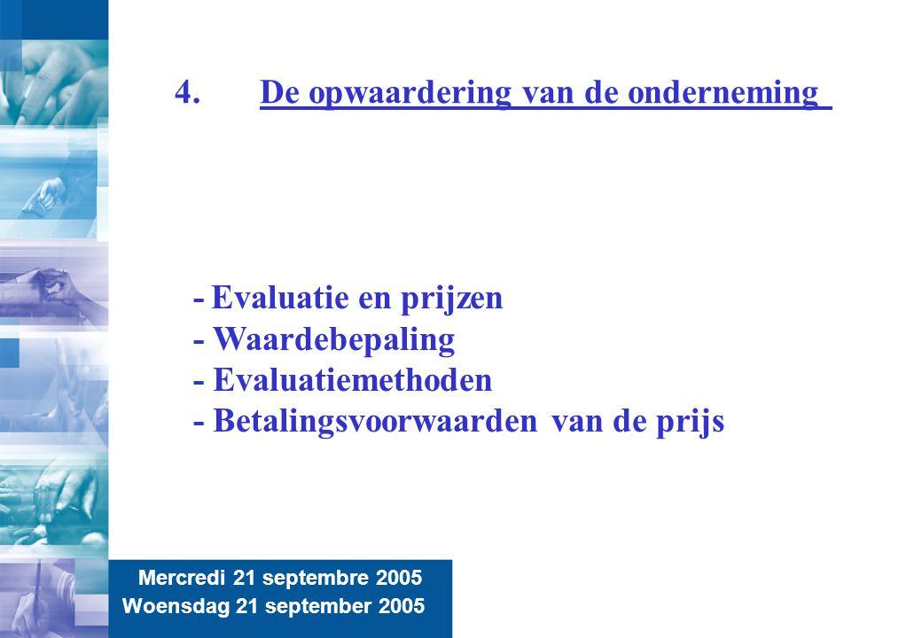 10 4.De opwaardering van de onderneming Mercredi 21 septembre 2005 Woensdag 21 september 2005 - Evaluatie en prijzen - Waardebepaling - Evaluatiemetho
