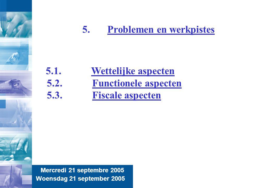 11 5.Problemen en werkpistes Mercredi 21 septembre 2005 Woensdag 21 september 2005 5.1.