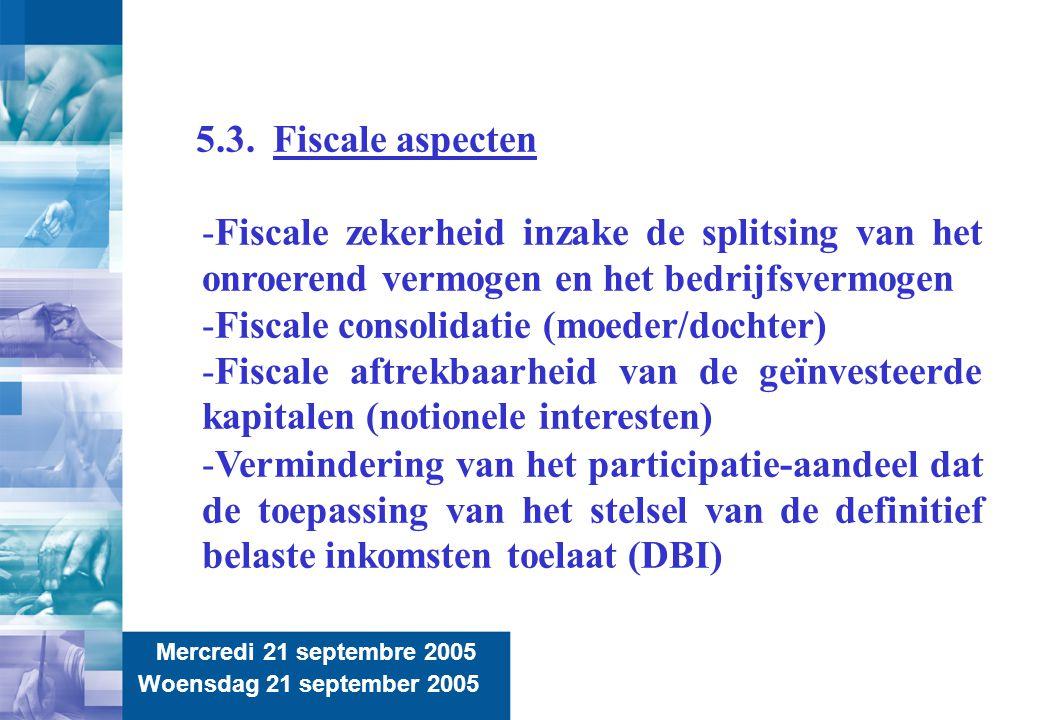 14 Mercredi 21 septembre 2005 Woensdag 21 september 2005 5.3. Fiscale aspecten -Fiscale zekerheid inzake de splitsing van het onroerend vermogen en he
