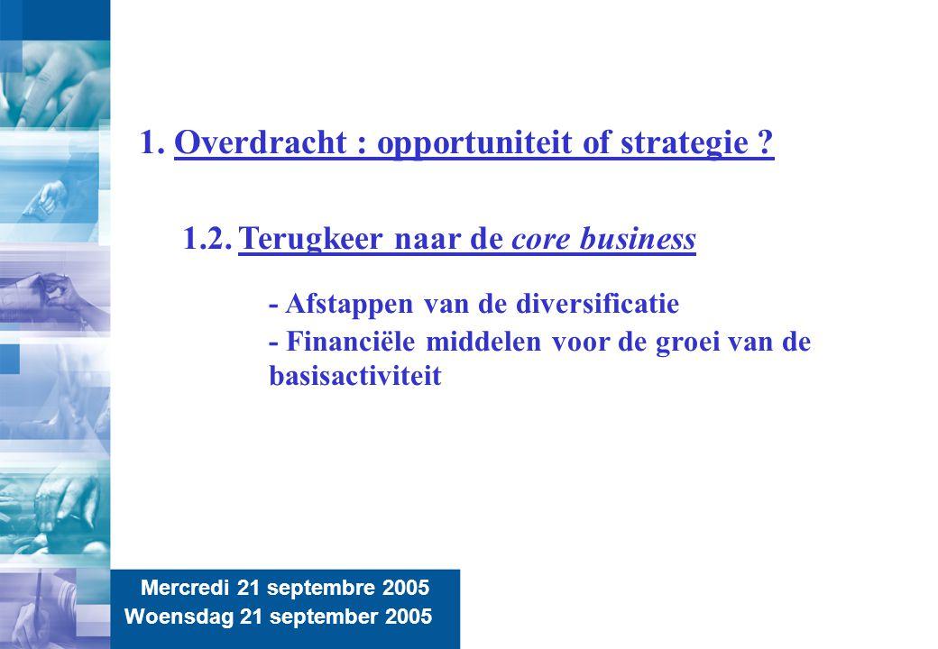 6 Mercredi 21 septembre 2005 Woensdag 21 september 2005 1. Overdracht : opportuniteit of strategie ? 1.2. Terugkeer naar de core business - Afstappen