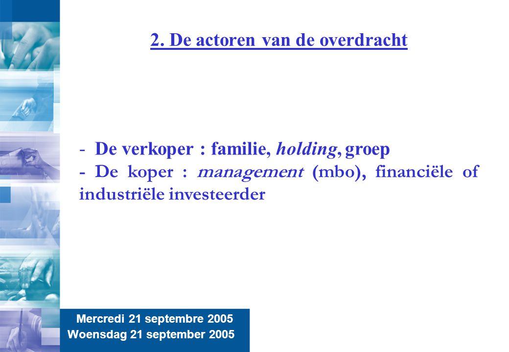 8 2. De actoren van de overdracht Mercredi 21 septembre 2005 Woensdag 21 september 2005 - De verkoper : familie, holding, groep - De koper : managemen