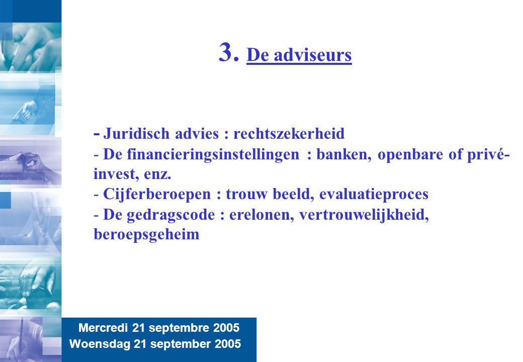 9 3. De adviseurs Mercredi 21 septembre 2005 Woensdag 21 september 2005 - Juridisch advies : rechtszekerheid - De financieringsinstellingen : banken,