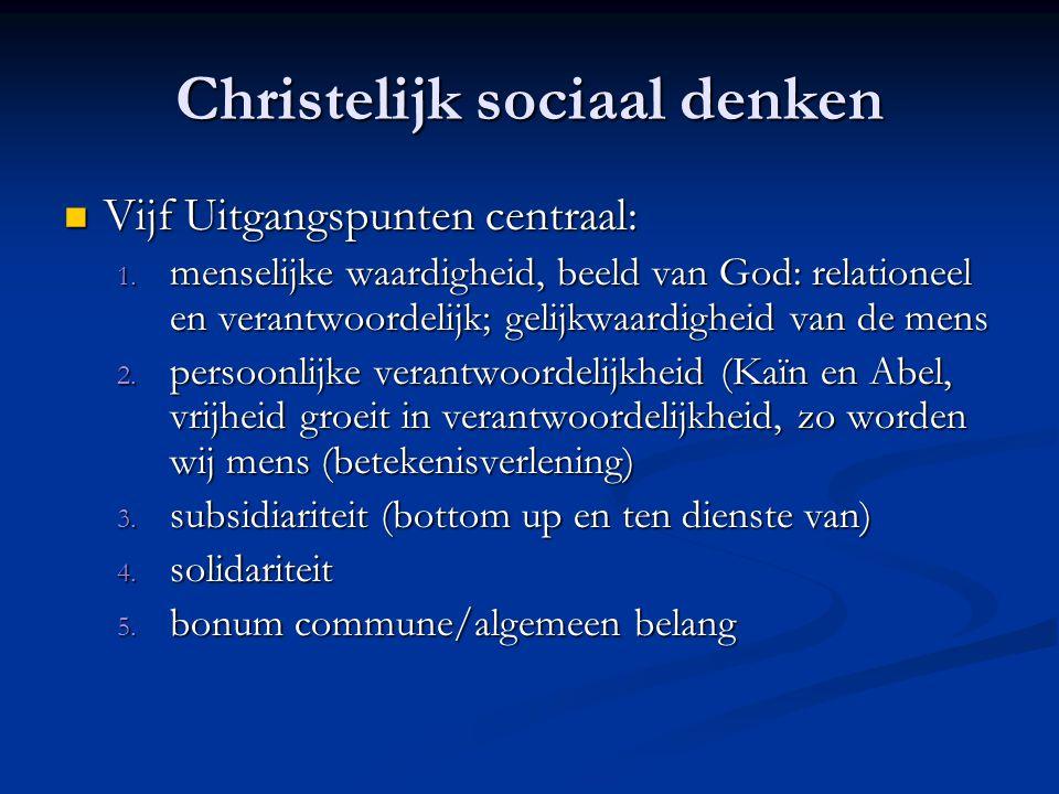 Christelijk sociaal denken Vijf Uitgangspunten centraal: Vijf Uitgangspunten centraal: 1.