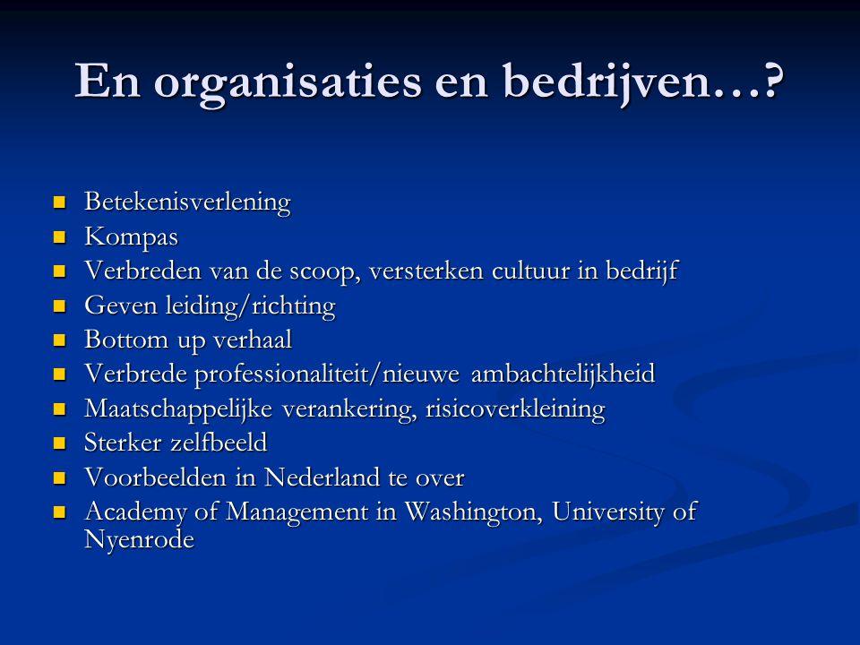 En organisaties en bedrijven….