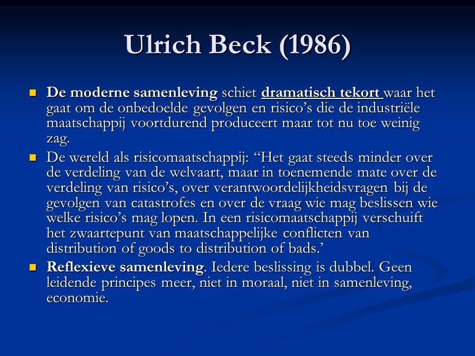 Ulrich Beck (1986) De moderne samenleving schiet dramatisch tekort waar het gaat om de onbedoelde gevolgen en risico's die de industriële maatschappij voortdurend produceert maar tot nu toe weinig zag.