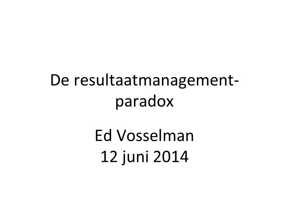 De resultaatmanagement- paradox Ed Vosselman 12 juni 2014