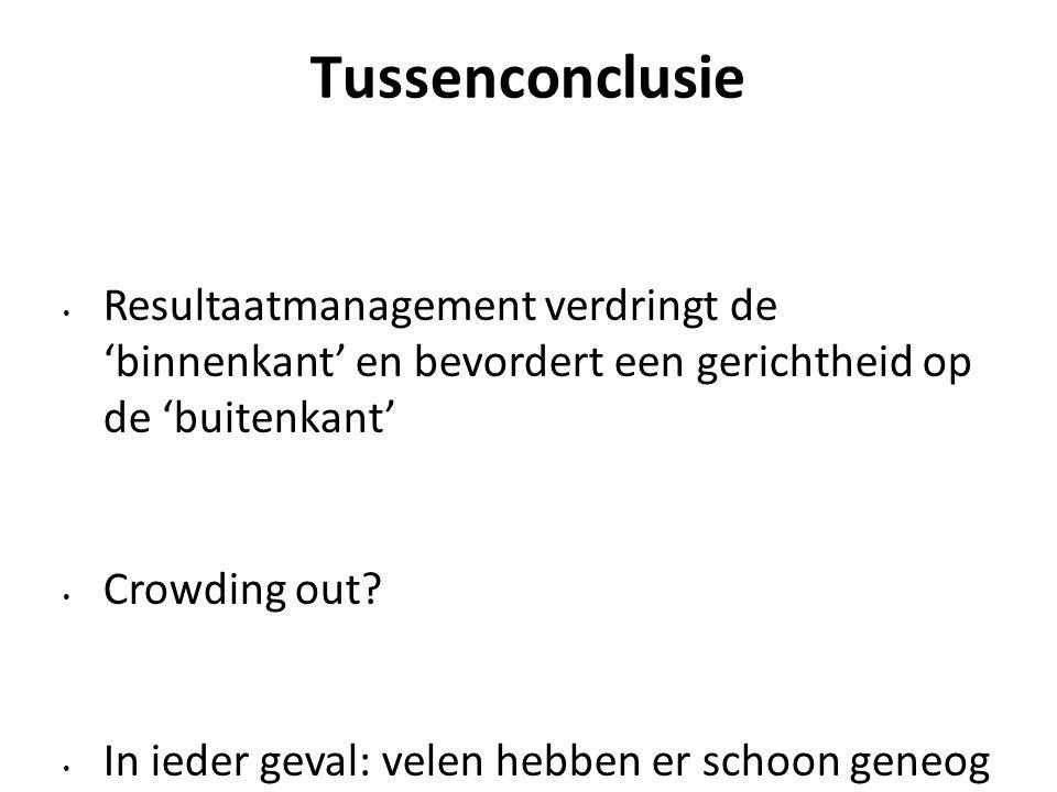 Tussenconclusie Resultaatmanagement verdringt de 'binnenkant' en bevordert een gerichtheid op de 'buitenkant' Crowding out.