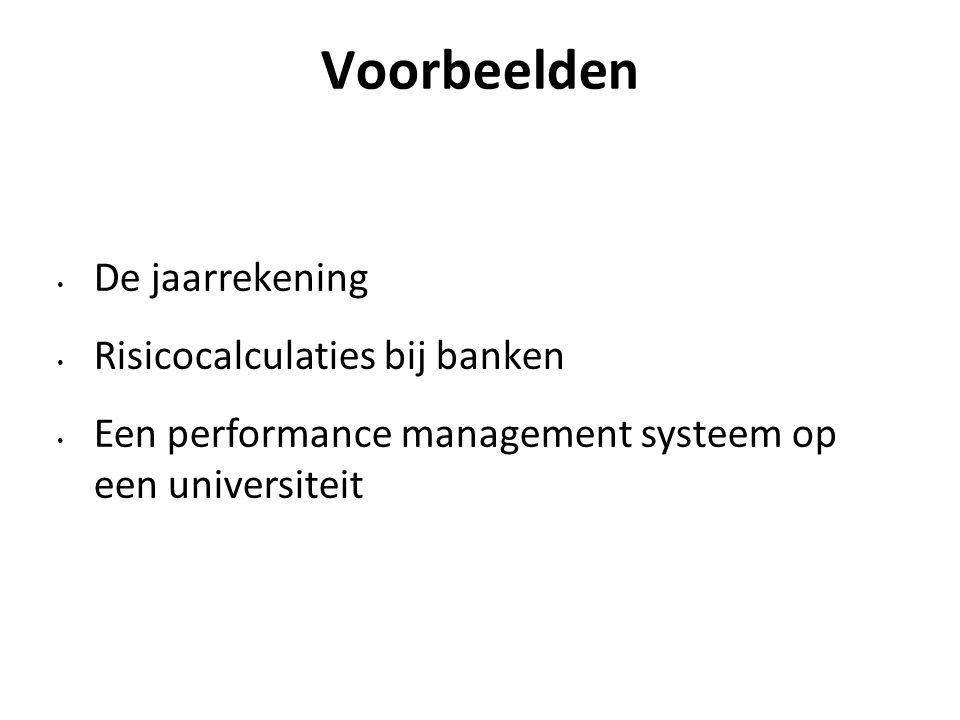 Voorbeelden De jaarrekening Risicocalculaties bij banken Een performance management systeem op een universiteit