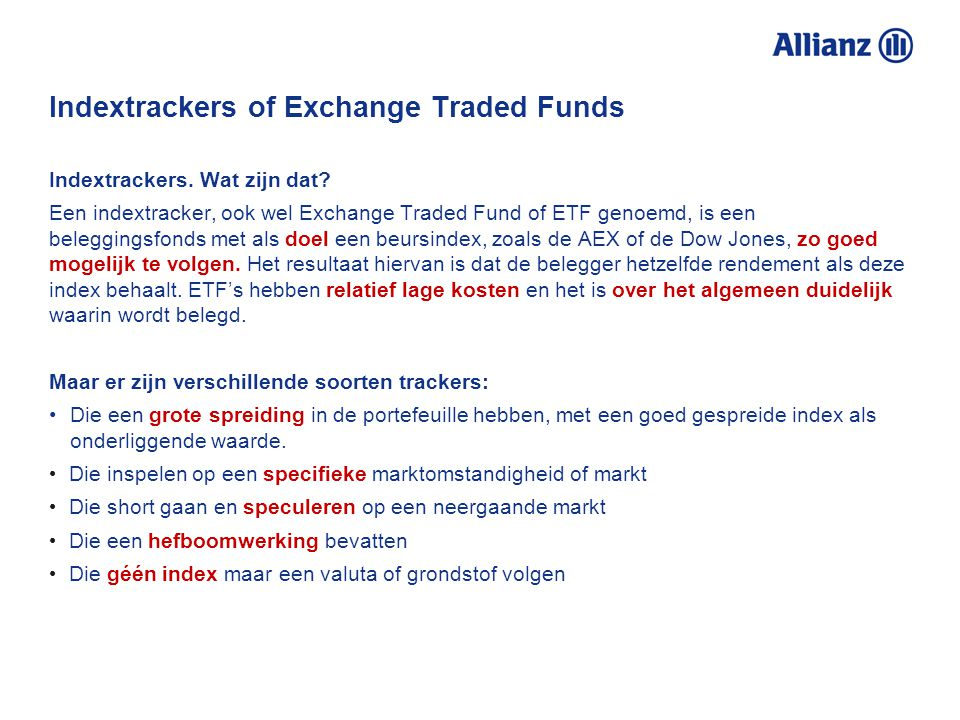 Indextrackers of Exchange Traded Funds Indextrackers.