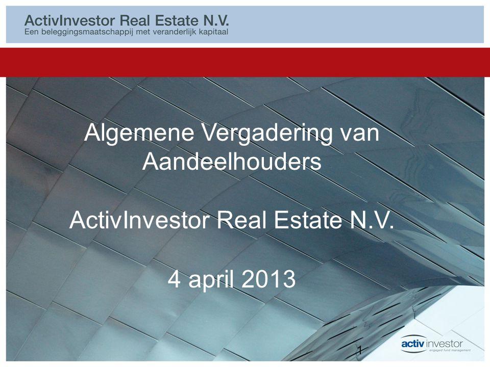 Resultaten 2012 2012 goed jaar voor Europese vastgoedaandelen Grote verschillen per vastgoedonderneming (bijvoorbeeld Unibail-Rodamco + 30%, NSI -/- 36%) Totaalrendement 2012 ActivInvestor Real Estate N.V.: 11,81% –Direct beleggingsresultaat: € 1.006.102 –Indirect beleggingsresultaat: € 1.432.567 Dividendrendement 2012: 9,4% (€ 50 in contanten) Intrinsieke waarde per 31 december 2012: € 544,31 2