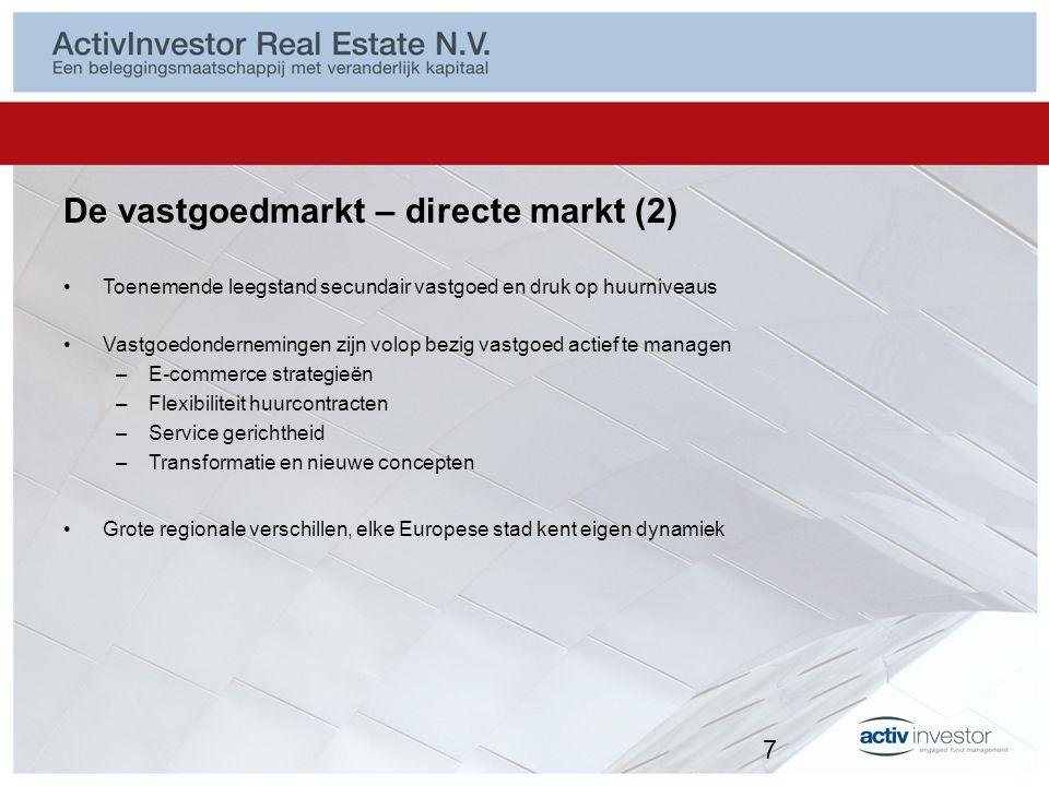 De vastgoedmarkt – directe markt (2) Toenemende leegstand secundair vastgoed en druk op huurniveaus Vastgoedondernemingen zijn volop bezig vastgoed ac