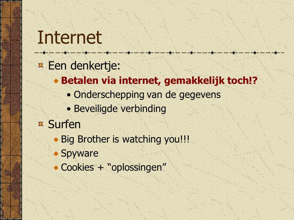 Internet E-mail Spammail + hoe voorkomen Encryptie: PGP Een denkertje: E-mail versleutelen is alleen noodzakelijk voor criminelen!?