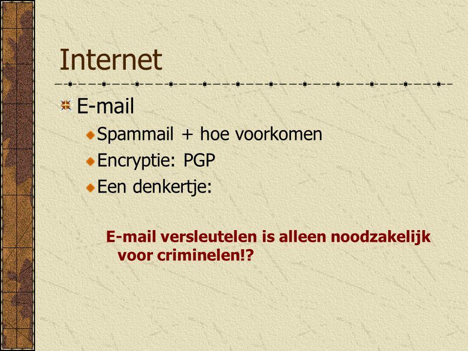 Internet E-mail Spammail + hoe voorkomen Encryptie: PGP Een denkertje: E-mail versleutelen is alleen noodzakelijk voor criminelen!