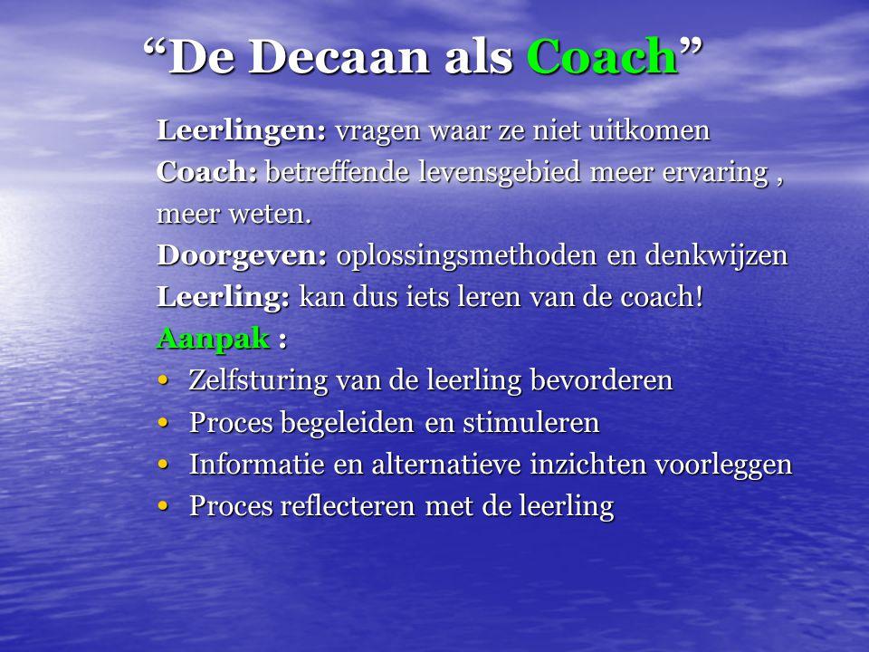 """""""De Decaan als Coach"""" Leerlingen: vragen waar ze niet uitkomen Coach: betreffende levensgebied meer ervaring, meer weten. Doorgeven: oplossingsmethode"""