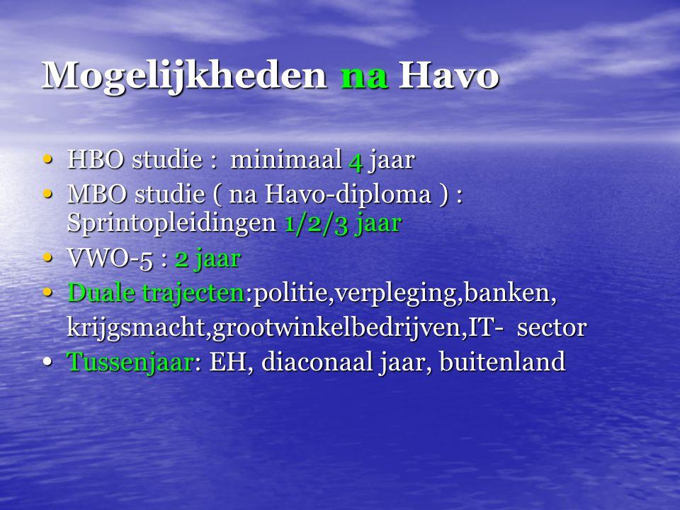 Mogelijkheden na Havo HBO studie : minimaal 4 jaar HBO studie : minimaal 4 jaar MBO studie ( na Havo-diploma ) : Sprintopleidingen 1/2/3 jaar MBO stud