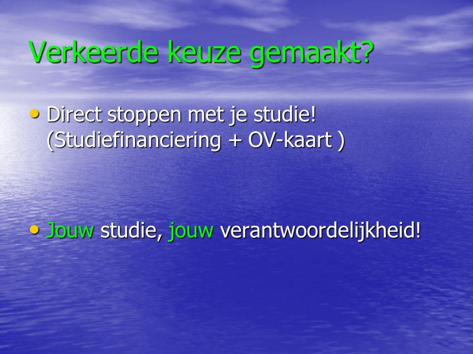 Verkeerde keuze gemaakt? Direct stoppen met je studie! (Studiefinanciering + OV-kaart ) Direct stoppen met je studie! (Studiefinanciering + OV-kaart )