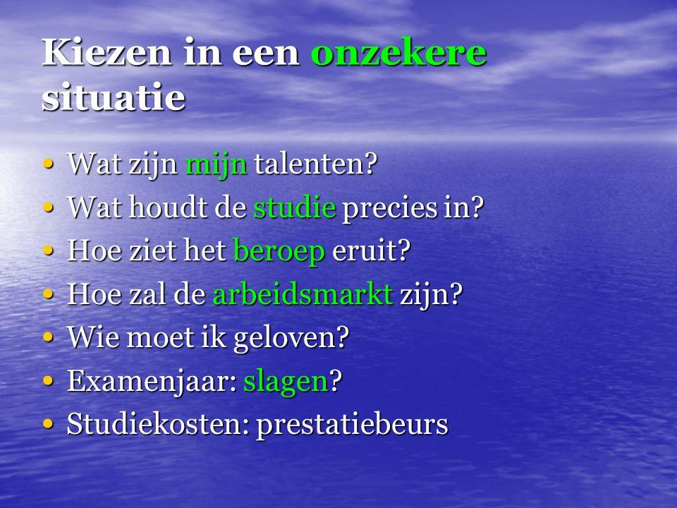 Kiezen in een onzekere situatie Wat zijn mijn talenten? Wat zijn mijn talenten? Wat houdt de studie precies in? Wat houdt de studie precies in? Hoe zi