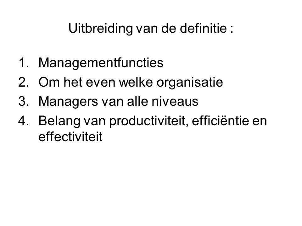 Uitbreiding van de definitie : 1.Managementfuncties 2.Om het even welke organisatie 3.Managers van alle niveaus 4.Belang van productiviteit, efficiëntie en effectiviteit
