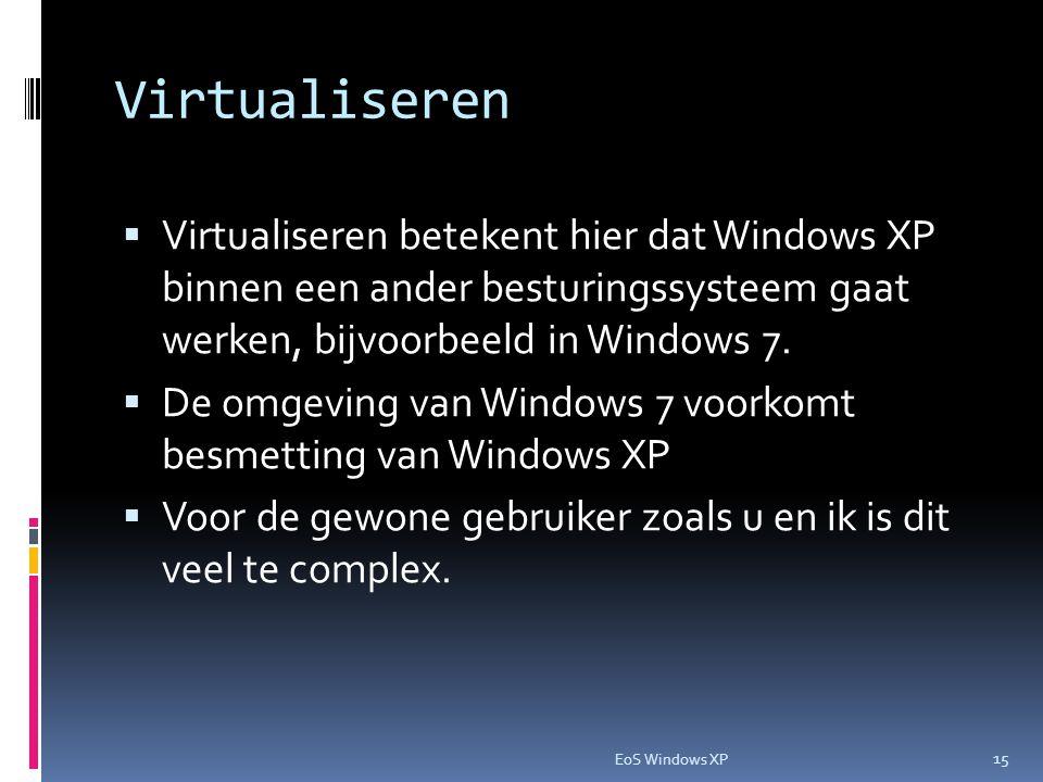 Virtualiseren  Virtualiseren betekent hier dat Windows XP binnen een ander besturingssysteem gaat werken, bijvoorbeeld in Windows 7.