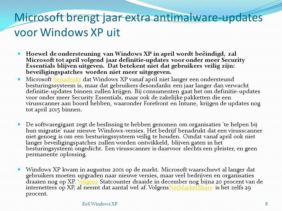 Microsoft brengt jaar extra antimalware-updates voor Windows XP uit Hoewel de ondersteuning van Windows XP in april wordt beëindigd, zal Microsoft tot april volgend jaar definitie-updates voor onder meer Security Essentials blijven uitgeven.