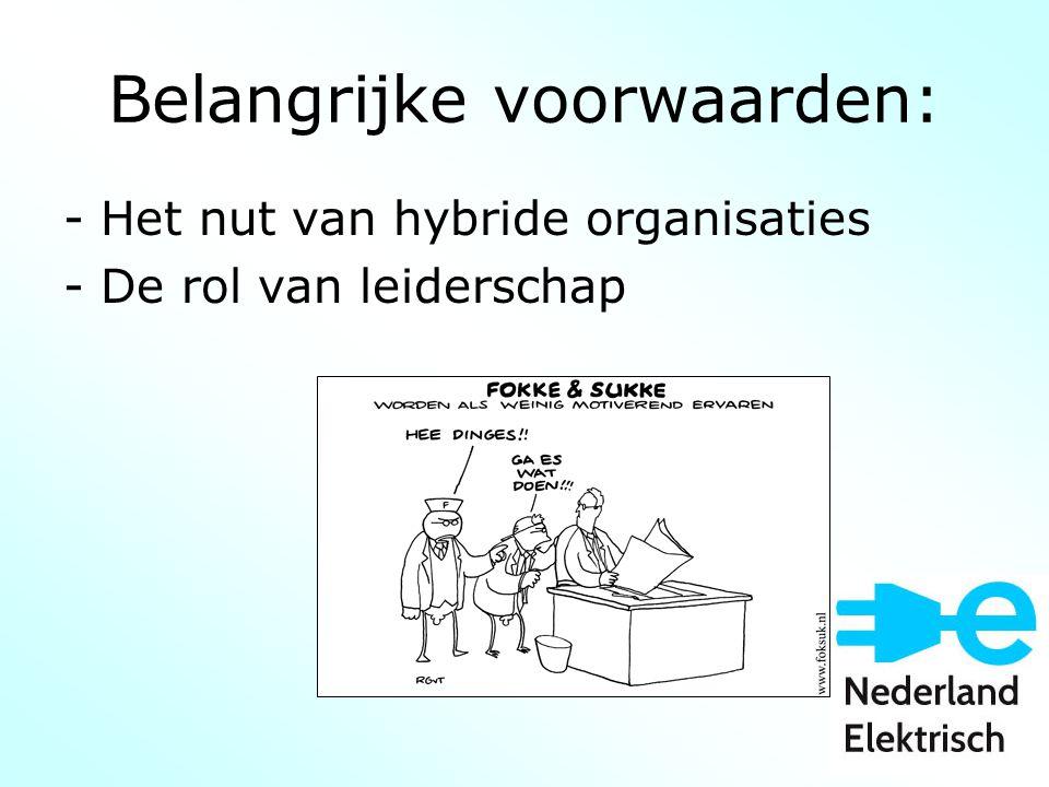 Belangrijke voorwaarden: - Het nut van hybride organisaties - De rol van leiderschap
