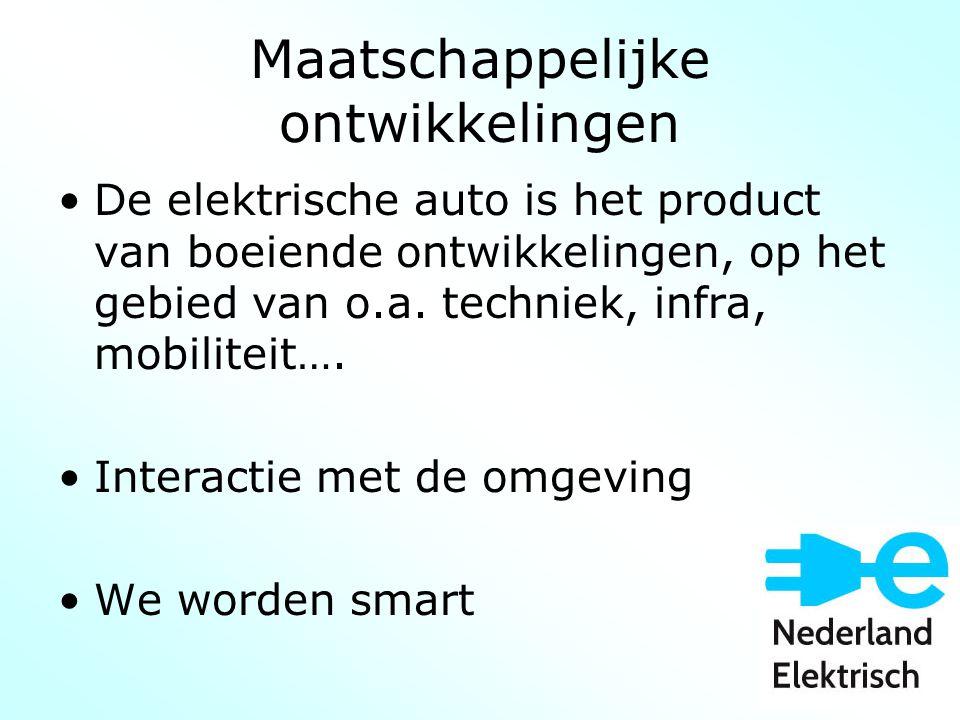 Maatschappelijke ontwikkelingen De elektrische auto is het product van boeiende ontwikkelingen, op het gebied van o.a.