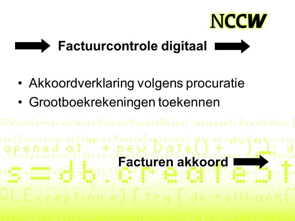 Factuurcontrole digitaal Akkoordverklaring volgens procuratie Grootboekrekeningen toekennen Facturen akkoord