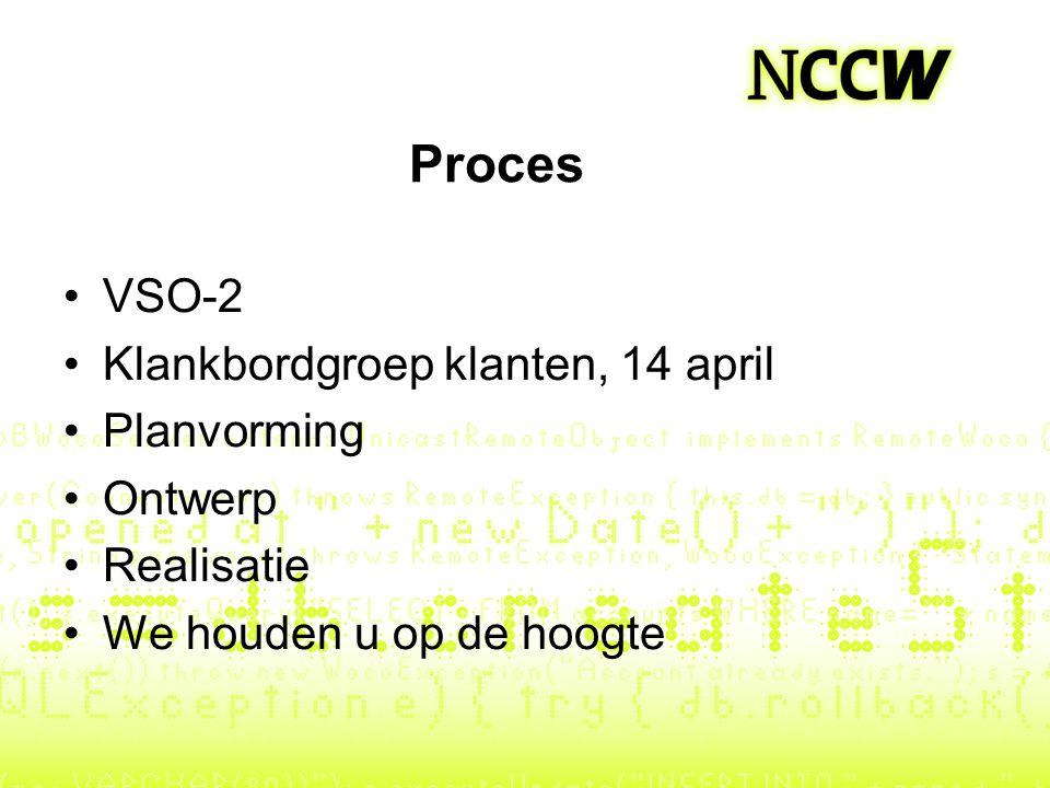 Proces VSO-2 Klankbordgroep klanten, 14 april Planvorming Ontwerp Realisatie We houden u op de hoogte