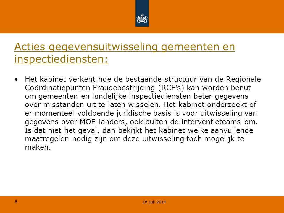 5 Acties gegevensuitwisseling gemeenten en inspectiediensten: Het kabinet verkent hoe de bestaande structuur van de Regionale Coördinatiepunten Fraude