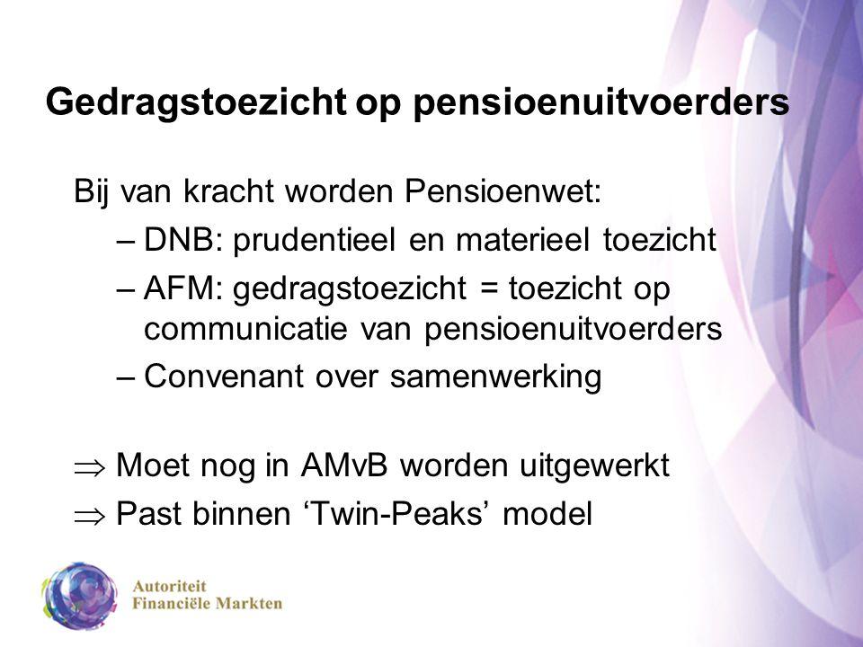 Gedragstoezicht op pensioenuitvoerders Bij van kracht worden Pensioenwet: –DNB: prudentieel en materieel toezicht –AFM: gedragstoezicht = toezicht op