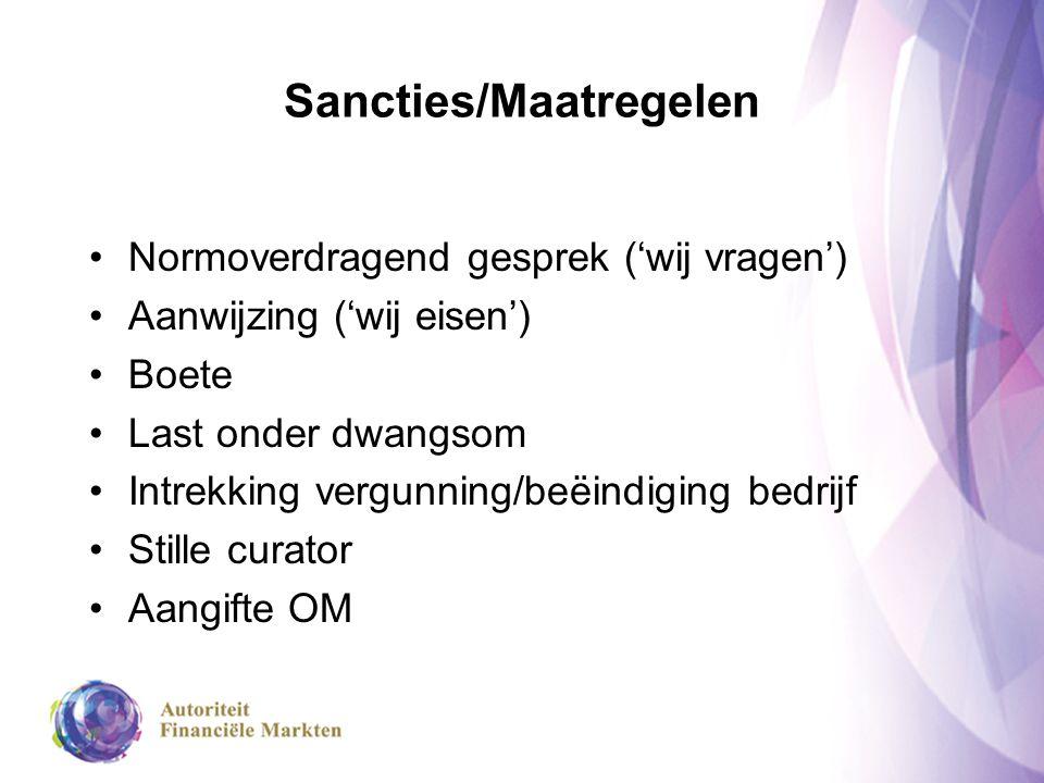 Sancties/Maatregelen Normoverdragend gesprek ('wij vragen') Aanwijzing ('wij eisen') Boete Last onder dwangsom Intrekking vergunning/beëindiging bedri