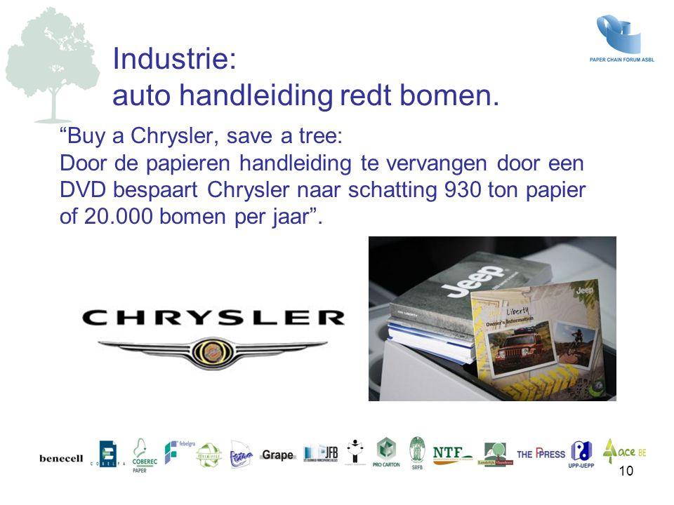"""""""Buy a Chrysler, save a tree: Door de papieren handleiding te vervangen door een DVD bespaart Chrysler naar schatting 930 ton papier of 20.000 bomen p"""